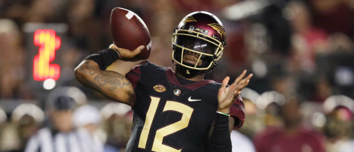 TALLAHASSEE, FL - SEPTEMBER 03: Deondre Francois #12 of the Florida State Seminoles throws a pass in the first quarter of the game against the Virginia Tech Hokies at Doak Campbell Stadium on September 3, 2018 in Tallahassee, Florida. (Photo by Joe Robbins/Getty Images)