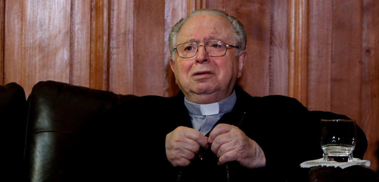 FILE PHOTO: Chilean priest Fernando Karadima is seen inside the Supreme Court building in Santiago, Chile, November 11, 2015. REUTERS/Carlos Vera/File Photo