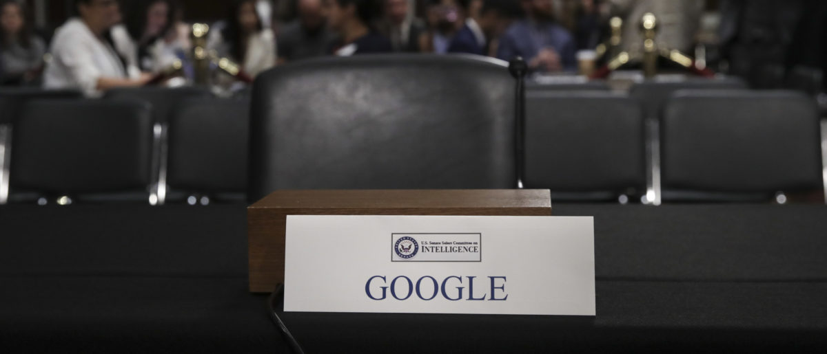 An empty seat for Google is seen during a Senate Intelligence Committee hearing concerning foreign influence operations' use of social media platforms, on Capitol Hill, September 5, 2018 in Washington, DC. Photo by Drew Angerer/Getty Images