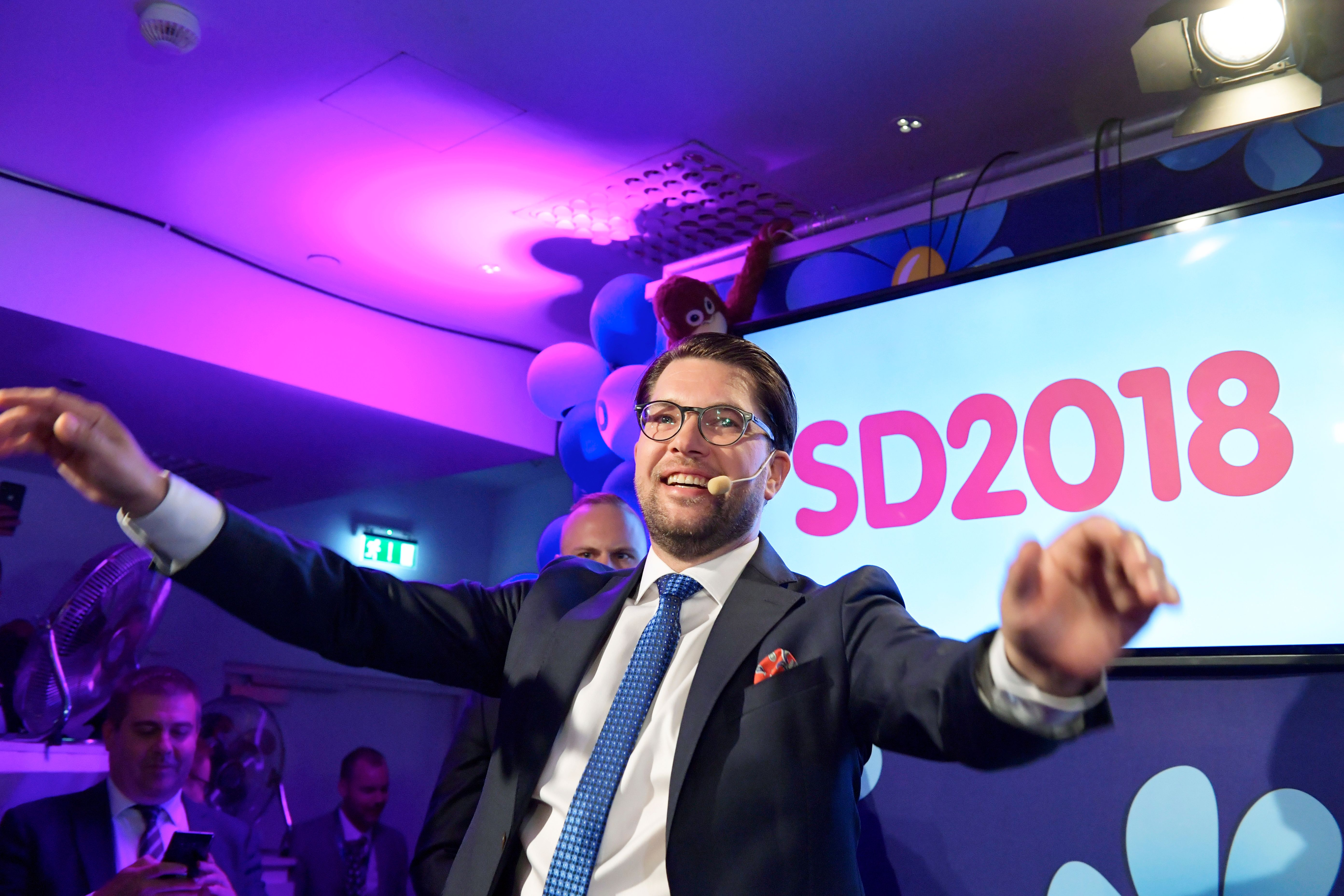 Jimmie Akesson of the Sweden Democrats speaks at the election party at the Kristallen restaurant in central Stockholm on September 9, 2018. - Sweden's Social Democrats are tipped to be the country's biggest party after Sunday's election on September 9, 2018, with the far-right Sweden Democrats trailing in third place, a TV4 exit poll predicted shortly before polling stations closed. (Photo by Anders WIKLUND / TT News Agency / AFP) / Sweden OUT (Photo credit should read ANDERS WIKLUND/AFP/Getty Images)