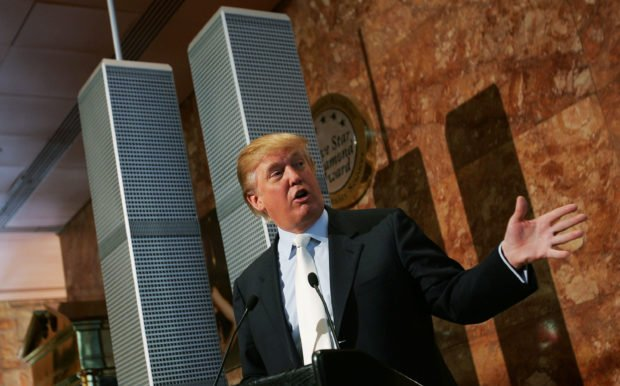 NEW YORK - MAY 18: Real estate developer Donald Trump speaks during a news conference presenting a model of a proposed design for the rebuilding of the World Trade Center site May 18, 2005 in New York City. Trump proposed a modified rebuilding of the World Trade Center complex, with an updated and taller design and a memorial to those killed in the 9/11 terrorist attacks at the base of the new towers. (Photo by Chris Hondros/Getty Images)