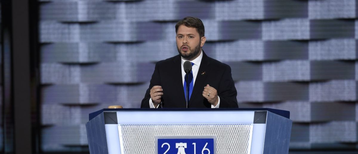 US Representative Ruben Gallego of Arizona speaks on Day Three of the Democratic National Convention at the Wells Fargo Center in Philadelphia, Pennsylvania, July 27, 2016. / AFP / SAUL LOEB (Photo credit should read SAUL LOEB/AFP/Getty Images)