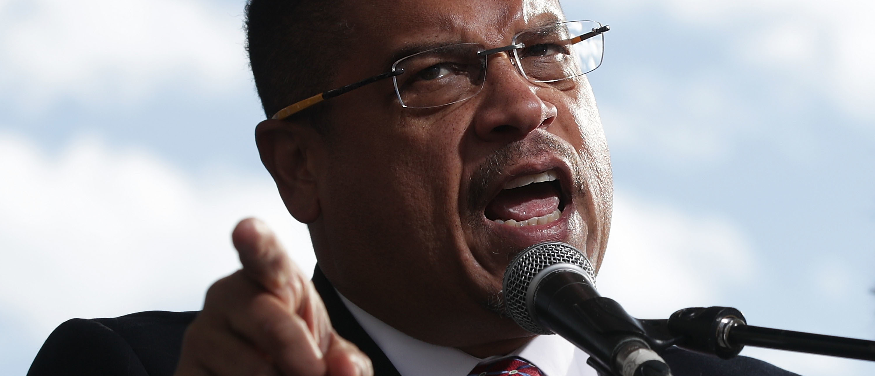 WASHINGTON, DC - DECEMBER 07: U.S. Rep. Keith Ellison (D-MN) (C) speaks during a rally on jobs December 7, 2016 at Freedom Plaza in Washington, DC. Our Revolution and Good Jobs Nation, the organizer, held a rally to demand good jobs and workers' rights from the incoming President-elect Donald Trump administration. (Photo by Alex Wong/Getty Images)