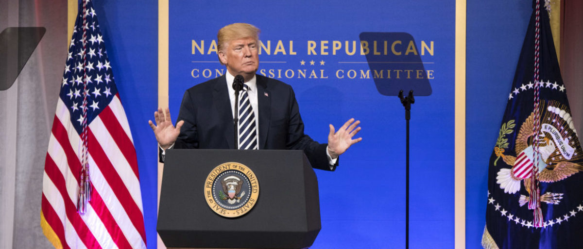 WASHINGTON, DC - MARCH 20: President Donald Trump delivers remarks at the National Republican Congressional Committee March Dinner at the National Building Museum on March 20, 2018 in Washington, D.C. (Photo by Kevin Dietsch-Pool/Getty Images)