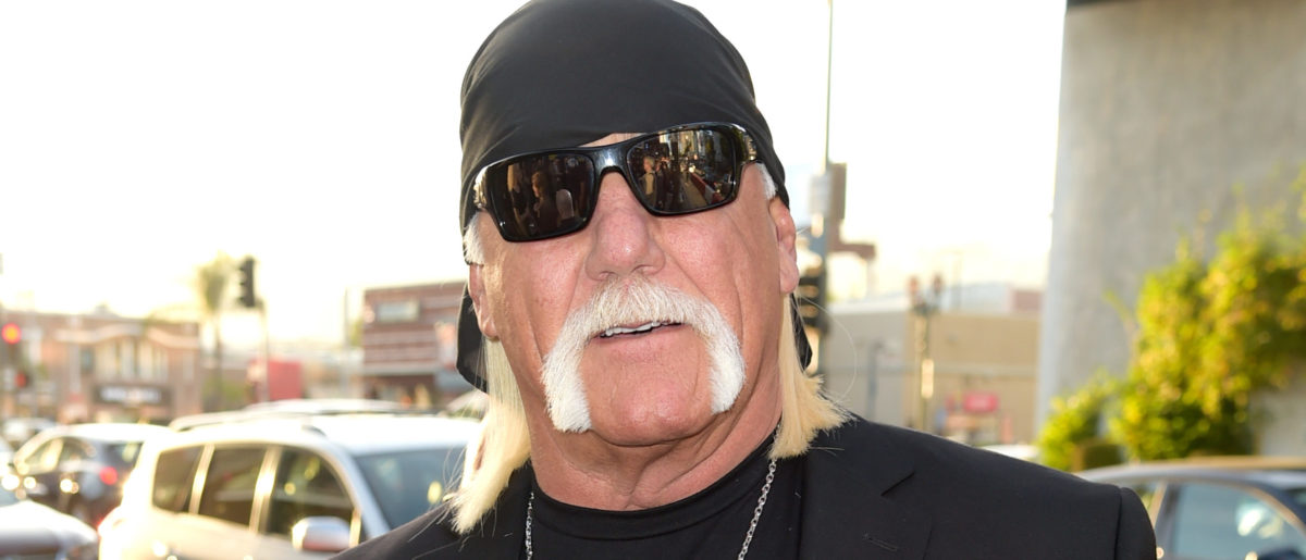 "Wrestler Hulk Hogan arrives at the premiere of HBO's ""Andre The Giant"" at the Cinerama Dome on March 29, 2018 in Los Angeles, California. Photo by Kevin Winter/Getty Images"