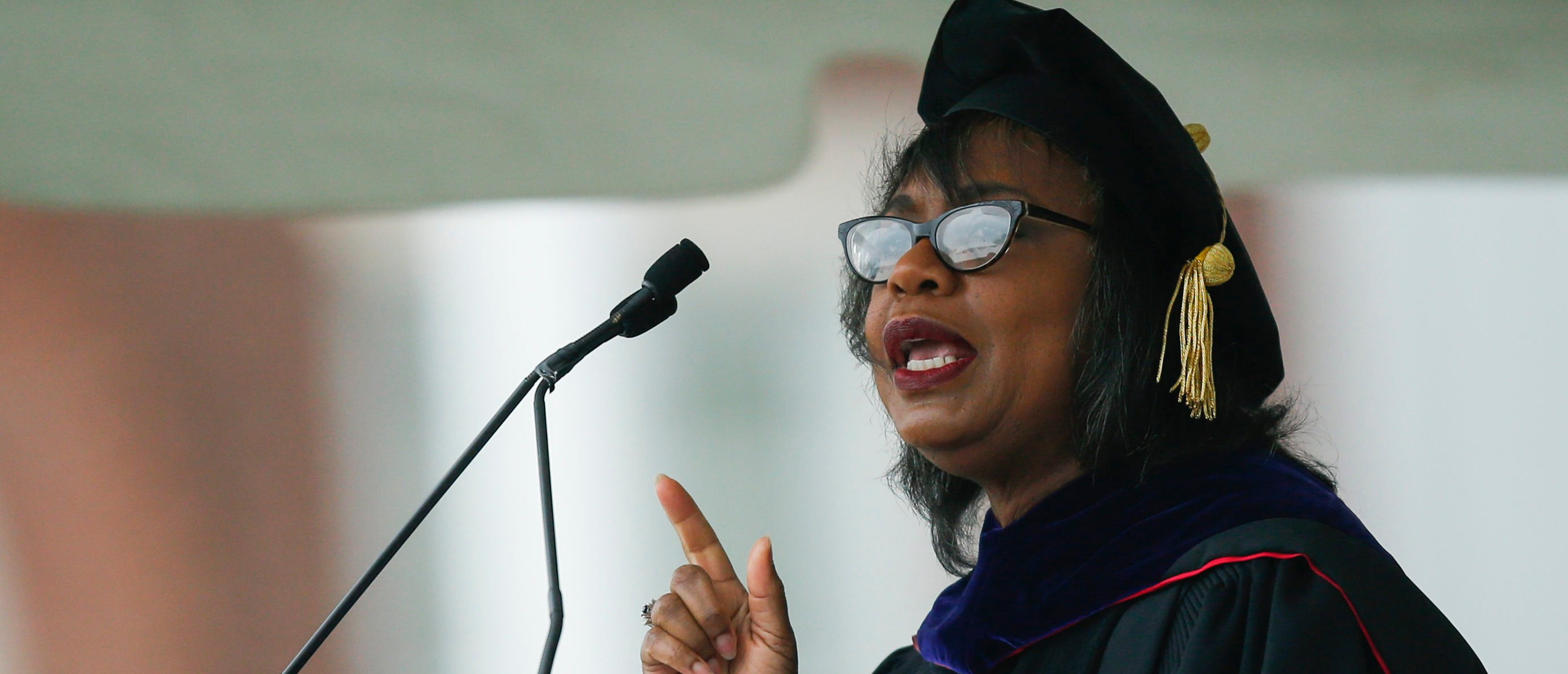 MIDDLETOWN, CT - MAY 27: Law professor Anita Hill speaks at the commencement ceremony at Wesleyan University on May 27, 2018 in Middletown, Connecticut. (Photo by Eduardo Munoz Alvarez/Getty Images)