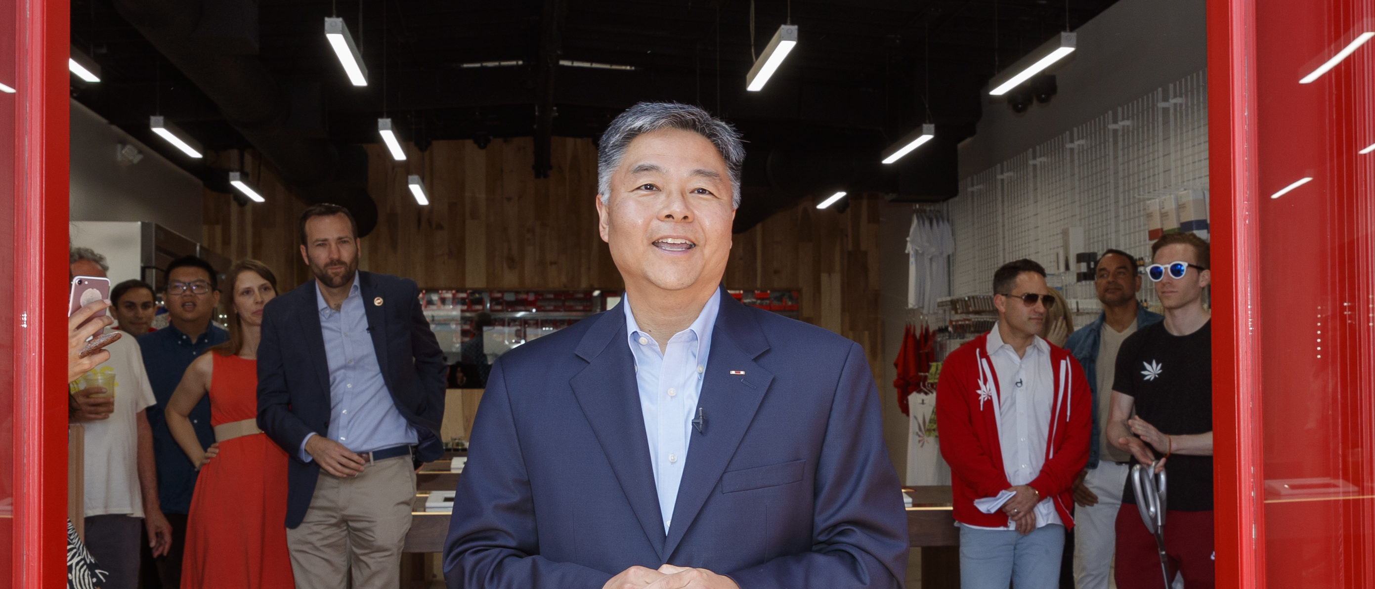 VENICE, CA - JUNE 09: Congressman Ted W. Lieu speaks at the MedMen Abbot Kinney store ribbon cutting ceremony on June 9, 2018 in Venice, California. (Photo by Rich Polk/Getty Images for MedMen Enterprises)