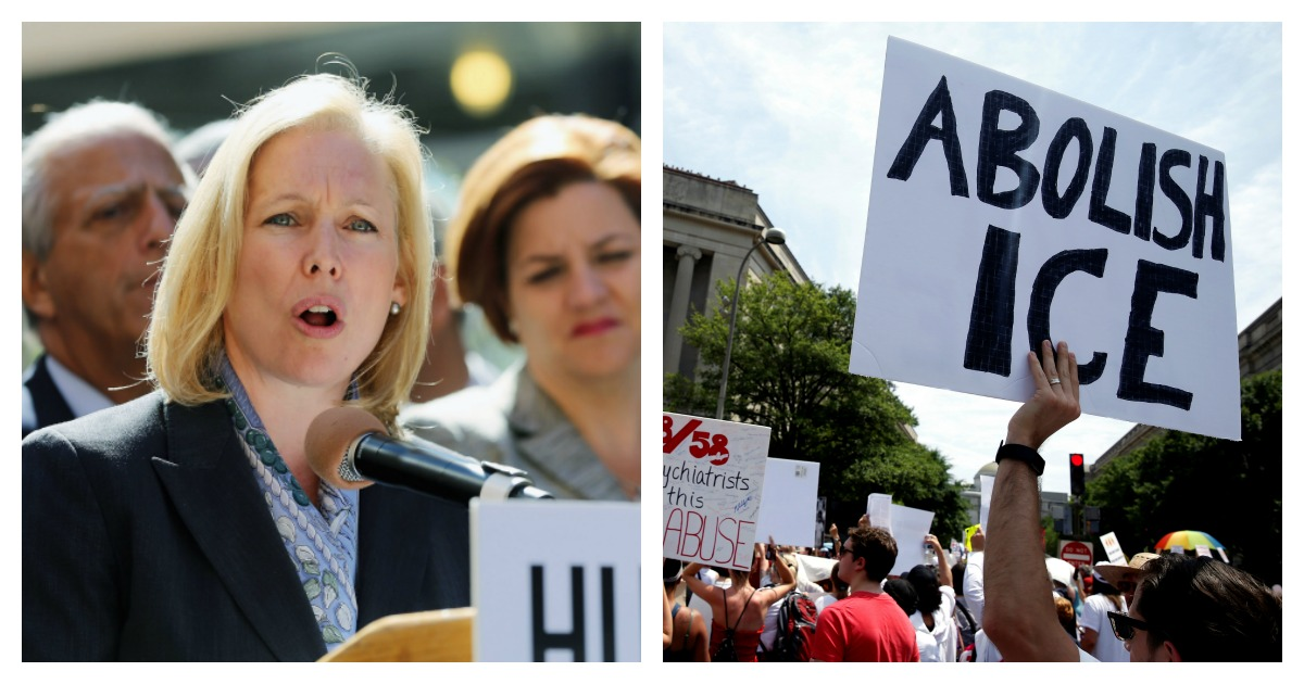 LEFT: NEW YORK, NY - SEPTEMBER 24: U.S. Sen. Kirsten Gillibrand (D-NY), speaks at a press conference organized by the group Iran180 to denounce Iranian President Ahmadinejad's upcoming speech at the United Nations General Assembly. A group of elected officials and community leaders spoke outside United Nations headquarters. (Mario Tama/Getty Images) RIGHT: An immigration activist holds up a sign calling for the abolishment of ICE during rally to protest the Trump Administration's immigration policy outside the DOJ in Washington, U.S., June 30, 2018. (REUTERS/Joshua Roberts)