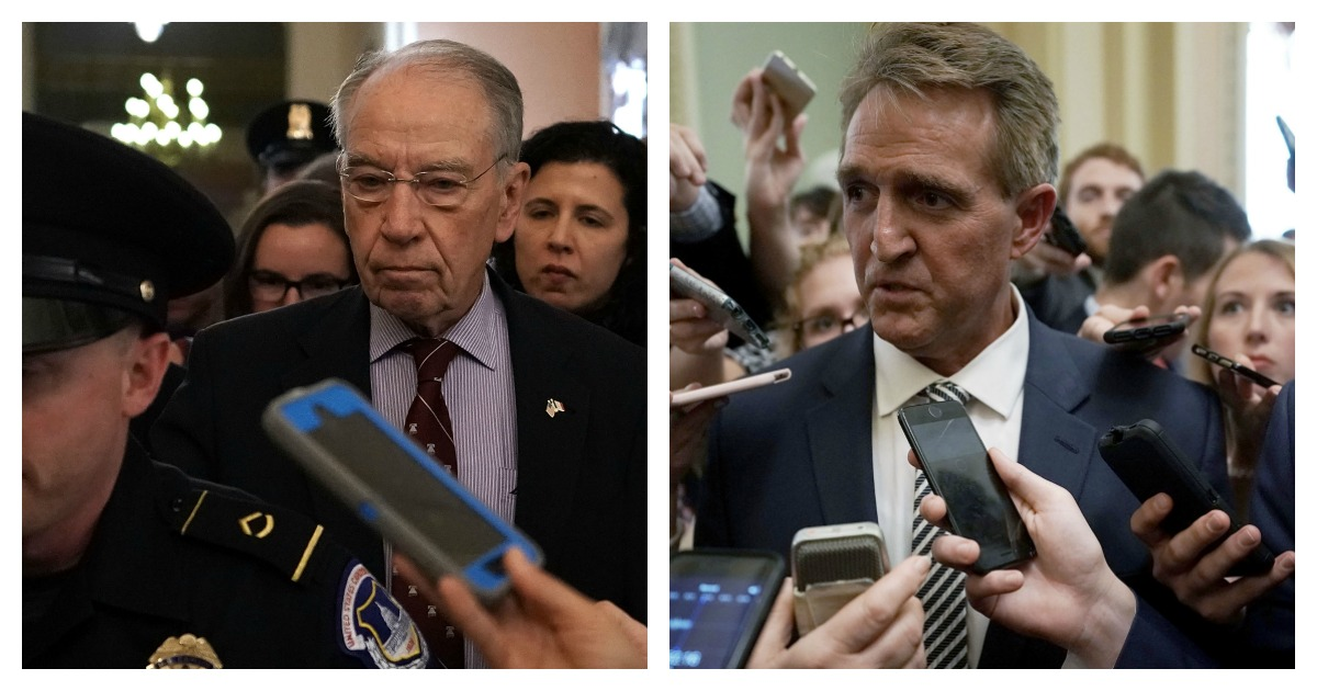 LEFT: U.S. Sen. Chuck Grassley (R-IA), chairman of Senate Judiciary Committee, leaves after a meeting in the office of Senate Majority Leader Sen. Mitch McConnell (R-KY) September 28, 2018 at the U.S. Capitol in Washington, DC. (Alex Wong/Getty Images) RIGHT: U.S. Sen. Jeff Flake (R-AZ) speaks to members of the media after a meeting in the office of Senate Majority Leader Sen. Mitch McConnell (R-KY) September 28, 2018 at the U.S. Capitol in Washington, DC. (Alex Wong/Getty Images)