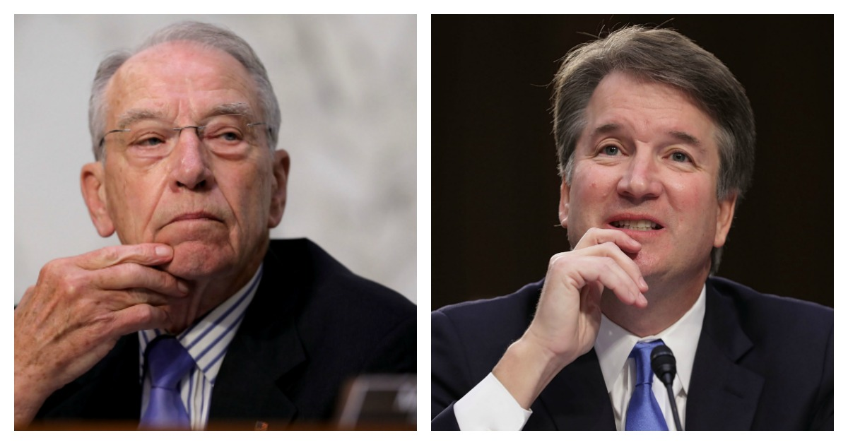 LEFT: Senate Judiciary Committee Chairman Charles Grassley (R-IA) presides over the third day of Supreme Court nominee Judge Brett Kavanaugh's confirmation hearing in the Hart Senate Office Building on Capitol Hill September 6, 2018 in Washington, DC. (Chip Somodevilla/Getty Images) RIGHT: Supreme Court nominee Judge Brett Kavanaugh testifies before the Senate Judiciary Committee during the second day of his Supreme Court confirmation hearing on Capitol Hill September 5, 2018 in Washington, DC. (Chip Somodevilla/Getty Images)