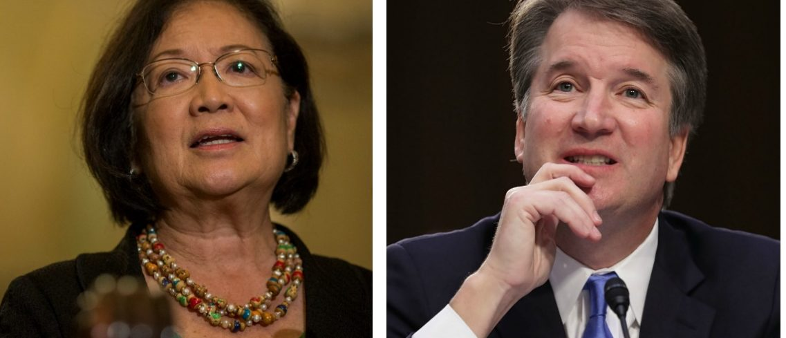LEFT: Sen. Mazie Hirono (D-HI) speaks during a weekly news conference on Capitol Hill on August 21, 2018 in Washington, D.C. (Photo by Zach Gibson/Getty Images) RIGHT: Supreme Court nominee Judge Brett Kavanaugh testifies before the Senate Judiciary Committee during the second day of his Supreme Court confirmation hearing on Capitol Hill September 5, 2018 in Washington, D.C. (Photo by Chip Somodevilla/Getty Images)