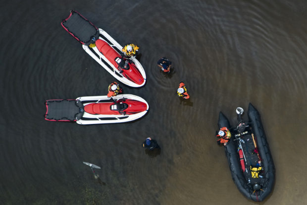 Rescue boats are seen in Bridge City, Texas, September 14, 2008, after Hurricane Ike. REUTERS/Smiley N. Pool/ Pool