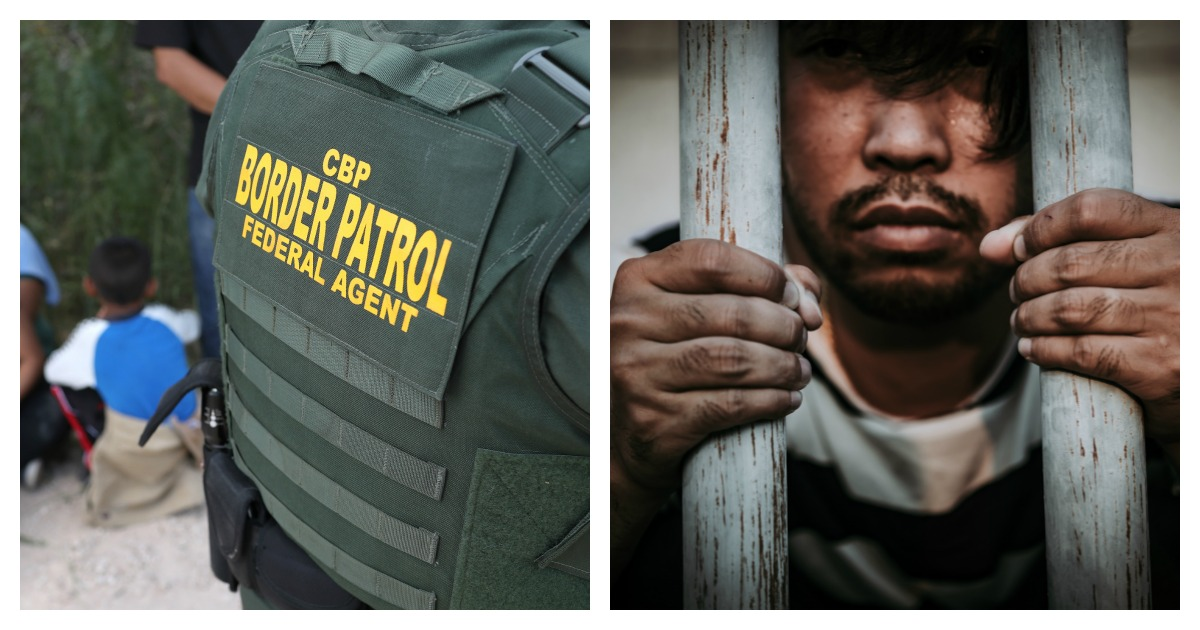 LEFT: Border Patrol Agents Detain Migrants Near US-Mexico Border (Photo by John Moore/Getty Images) RIGHT: Hands of men desperate to catch the iron prison, prisoner concept, crime should be punished more severely (Shutterstock/Kittirat Roekburi)