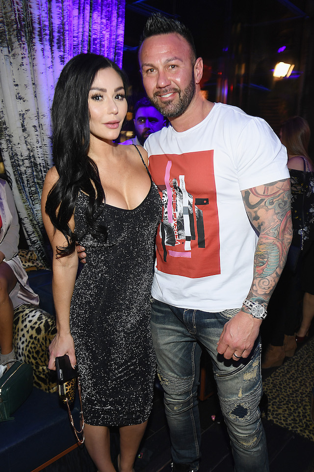 "Television personality Jenni 'JWoww' Farley (L) and Roger Mathews attend MTV's ""Jersey Shore Family Vacation"" New York premiere party at PHD at the Dream Downtown on April 4, 2018 in New York City. (Photo by Dave Kotinsky/Getty Images for MTV)"