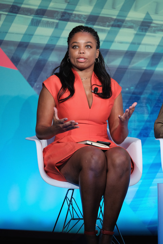 Co-host ESPN2's His & Hers Jemele Hill speaks at the Why Are We Still Talking About This? Women & Sport in 2016 panel at Liberty Theater during 2016 Advertising Week New York on September 29, 2016 in New York City. (Photo by D Dipasupil/Getty Images for Advertising Week New York)