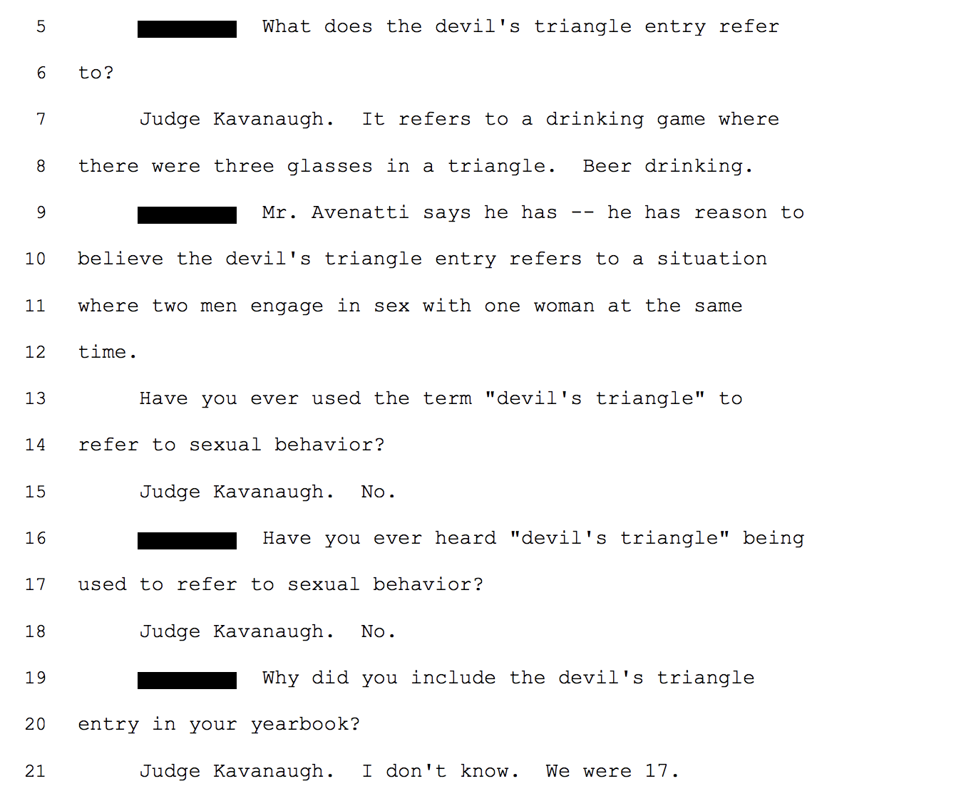 Judge Kavanaugh responds to the Devil's Triangle yearbook entry. (Screenshot)