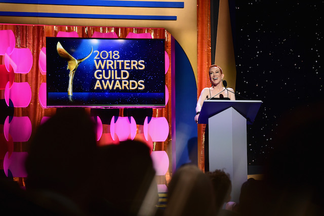 Comedian Kathy Griffin speaks onstage during the 2018 Writers Guild Awards L.A. Ceremony at The Beverly Hilton Hotel on February 11, 2018 in Beverly Hills, California. (Photo by Emma McIntyre/Getty Images)