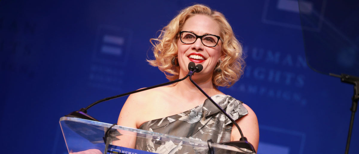 Congresswoman Kyrsten Sinema speaks onstage at The Human Rights Campaign 2018 Los Angeles Gala Dinner at JW Marriott Los Angeles at L.A. LIVE on March 10, 2018 in Los Angeles, California. (Photo by Rich Fury/Getty Images for Human Rights Campaign (HRC))