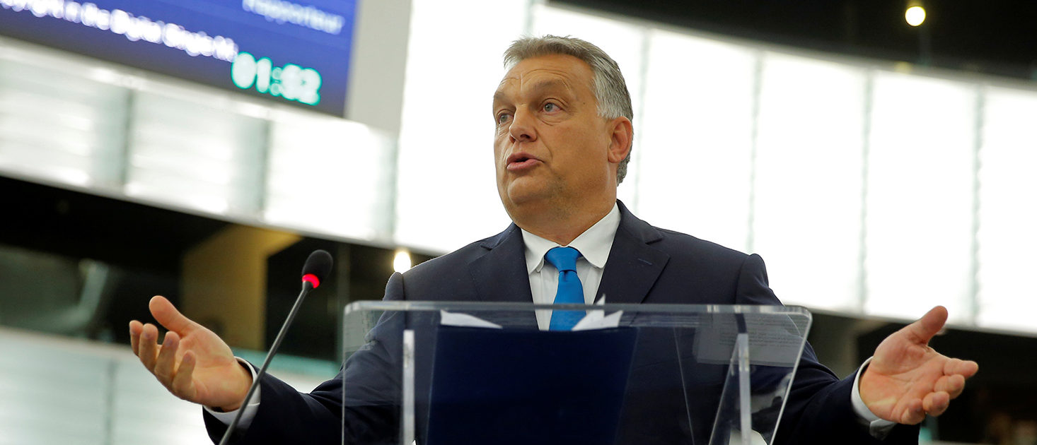 Hungarian Prime Minister Viktor Orban addresses MEPs during a debate on the situation in Hungary at the European Parliament in Strasbourg, France, September 11, 2018. REUTERS/Vincent Kessler