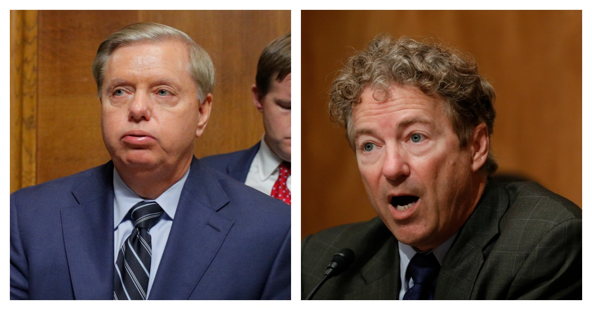 LEFT: U.S. Senator Lindsey Graham (R-SC) is seen during a break in a Senate Judiciary Committee confirmation hearing with U.S. Supreme Court nominee Brett Kavanaugh on September 27, 2018 in Washington, DC. (Jim Bourg-Pool/Getty Images) RIGHT: Sen. Rand Paul (R-KY) speaks during a Federal Spending Oversight And Emergency Management Subcommittee hearing June 6, 2018 on Capitol Hill in Washington, DC. (Aaron P. Bernstein/Getty Images)