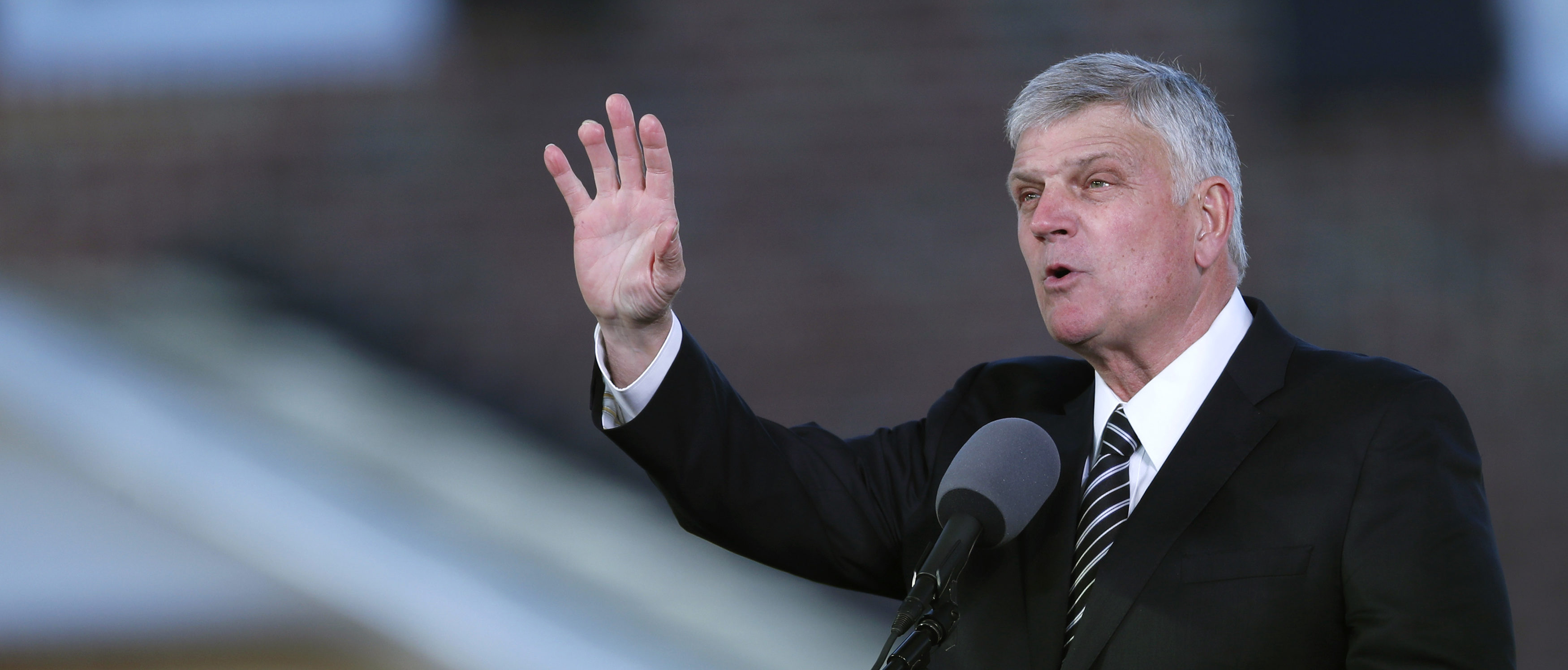Franklin Graham speaks during funeral service for the late U.S. evangelist Billy Graham in Charlotte