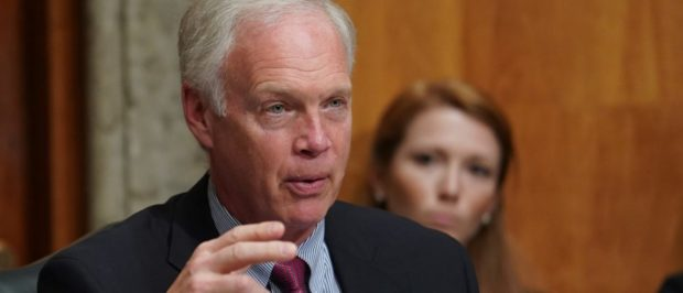"Senate Homeland Security and Governmental Affairs Committee Chairman Ron Johnson questions Department of Homeland Security Secretary Kirstjen Nielsen during a Senate Homeland Security and Governmental Affairs Committee hearing on ""Authorities and Resources Needed to Protect and Secure the United States,"" on Capitol Hill in Washington, DC, U.S., May 15, 2018. REUTERS/Erin Schaff"