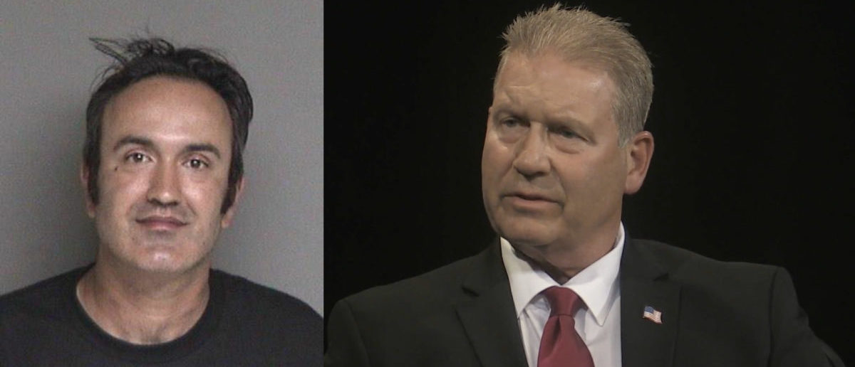 Left: Farzad Fazeli, who allegedly tried to stab Rudy Peters Right: Peters, who is running for Congress in California Photo L: Alameda County Sheriff Office R: Screenshot/YouTube
