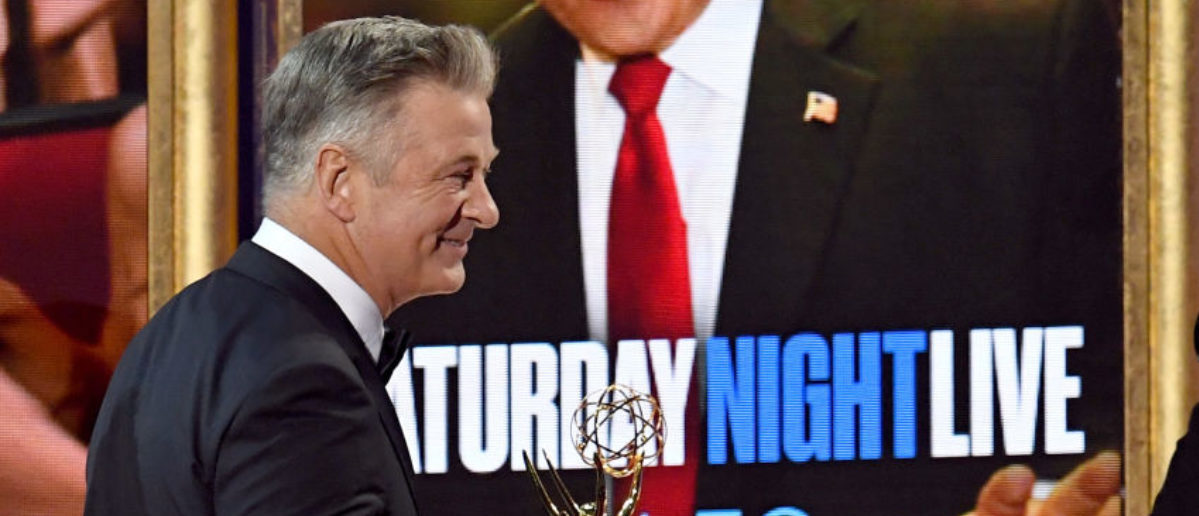 LOS ANGELES, CA - SEPTEMBER 17: Actor Alec Baldwin accepts Outstanding Supporting Actor in a Comedy Series for 'Saturday Night Live' onstage during the 69th Annual Primetime Emmy Awards at Microsoft Theater on September 17, 2017 in Los Angeles, California. (Photo by Kevin Winter/Getty Images)