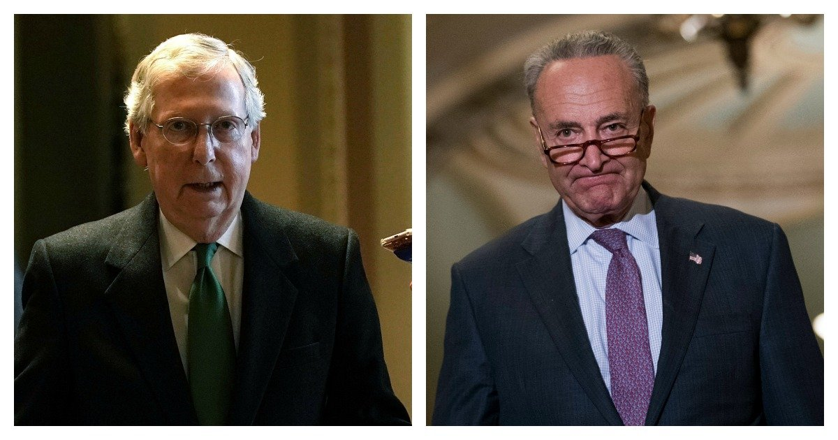 LEFT: Senate Majority Leader Sen. Mitch McConnell (R-KY) (L) walks towards the Senate chamber at the Capitol February 7, 2018 in Washington, DC. Sen. McConnell and Senate Minority Leader Sen. Chuck Schumer (D-NY) announced that they have reach agreement on a two-year budget deal. (Alex Wong/Getty Images) RIGHT: Senate Minority Leader Chuck Schumer (D-NY) arrives for news conference following their weekly policy luncheon, September 26, 2017 in Washington, DC. Senate Majority Leader Mitch McConnell announced they will not vote on the Graham-Cassidy health care bill, the GOP's latest attempt to replace the Affordable Care Act. (Drew Angerer/Getty Images)