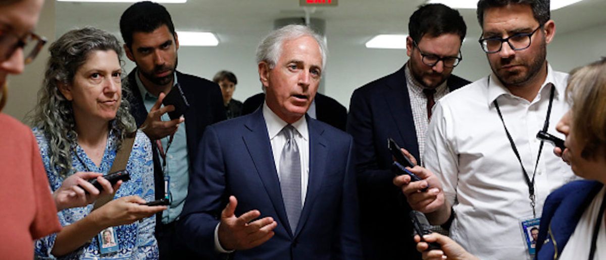 WASHINGTON, DC - JUNE 26: Sen. Bob Corker (R-TN) speaks with reporters ahead of the weekly policy luncheons at the U.S. Capitol June 26, 2018 in Washington, DC. Lawmakers are reacting to President Trump's immigration policy. (Photo by Aaron P. Bernstein/Getty Images)