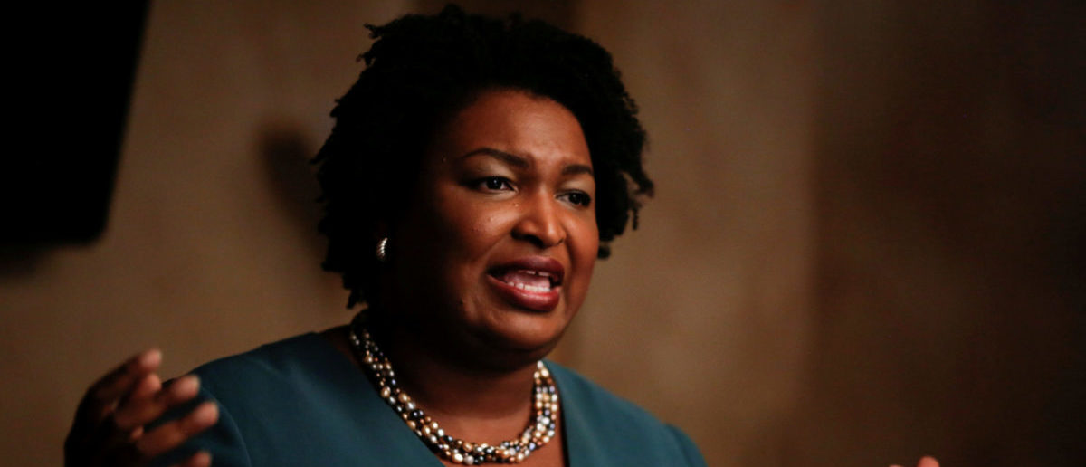 FILE PHOTO: Stacey Abrams, running for the Democratic primary for Georgia's 2018 governor's race, speaks at a Young Democrats of Cobb County meeting as she campaigns in Cobb County, Georgia, U.S. on November 16, 2017. REUTERS/Chris Aluka Berry