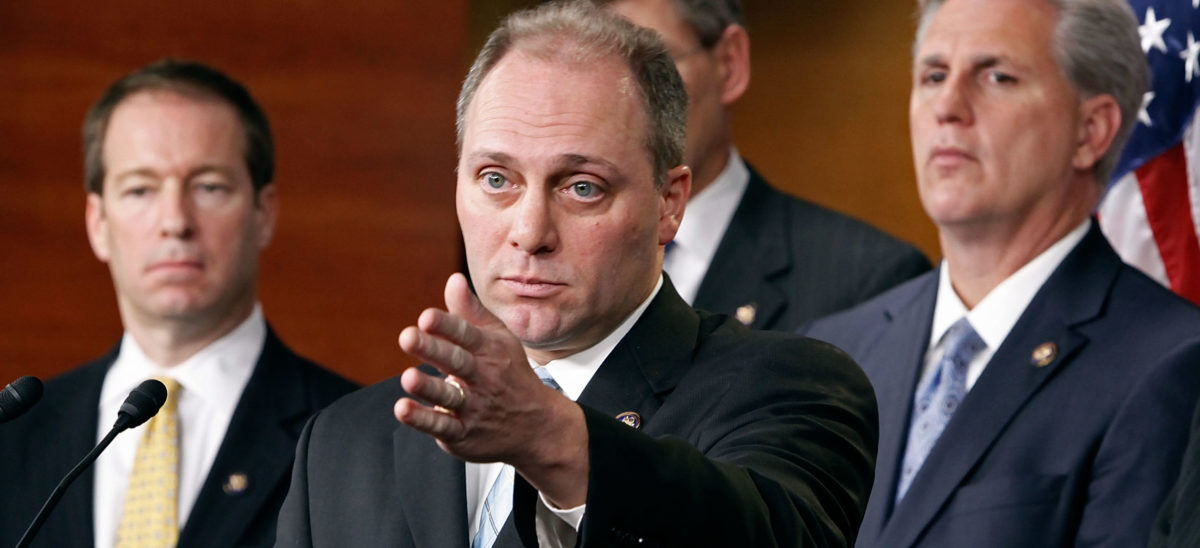 "WASHINGTON - DECEMBER 11: Rep. Steve Scalise (R-LA) (C) introduces H.R. 4262, the ""CAP the DEBT Act,"" during a news conference with fellow House Republicans at the U.S. Capitol December 11, 2009 in Washington, D.C. The bill looks to repeal the Gephardt Rule and thereby require a two-thirds majority in the House of Representatives and the Senate to authorize any increase in the U.S. national debt ceiling. Scalise threatened to vote against a war funding bill next week if it included a provision to raise the debt ceiling. (Photo by Chip Somodevilla/Getty Images)"