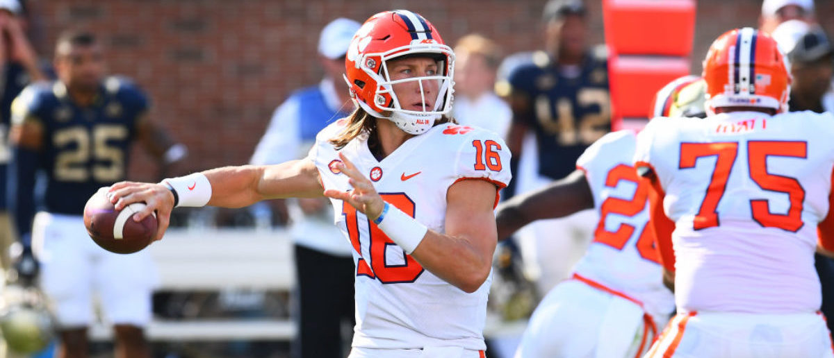 ATLANTA, GA - SEPTEMBER 22: Trevor Lawrence #16 of the Clemson Tigers passes against the Georgia Tech Yellow Jackets on September 22, 2018 in Atlanta, Georgia. (Photo by Scott Cunningham/Getty Images)