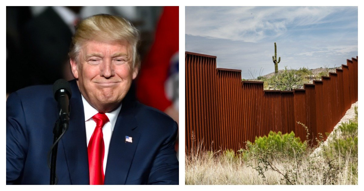 "LEFT: HERSHEY, PA - DECEMBER 15, 2016: President Trump ""Cheshire cat"" smile during his speech at a ""Thank You"" Tour rally held at the Giant Center [Shutterstock/Evan El-Amin] RIGHT: US-Mexican border in Arizona, USA [Shutterstock/Chess Ocampo]"