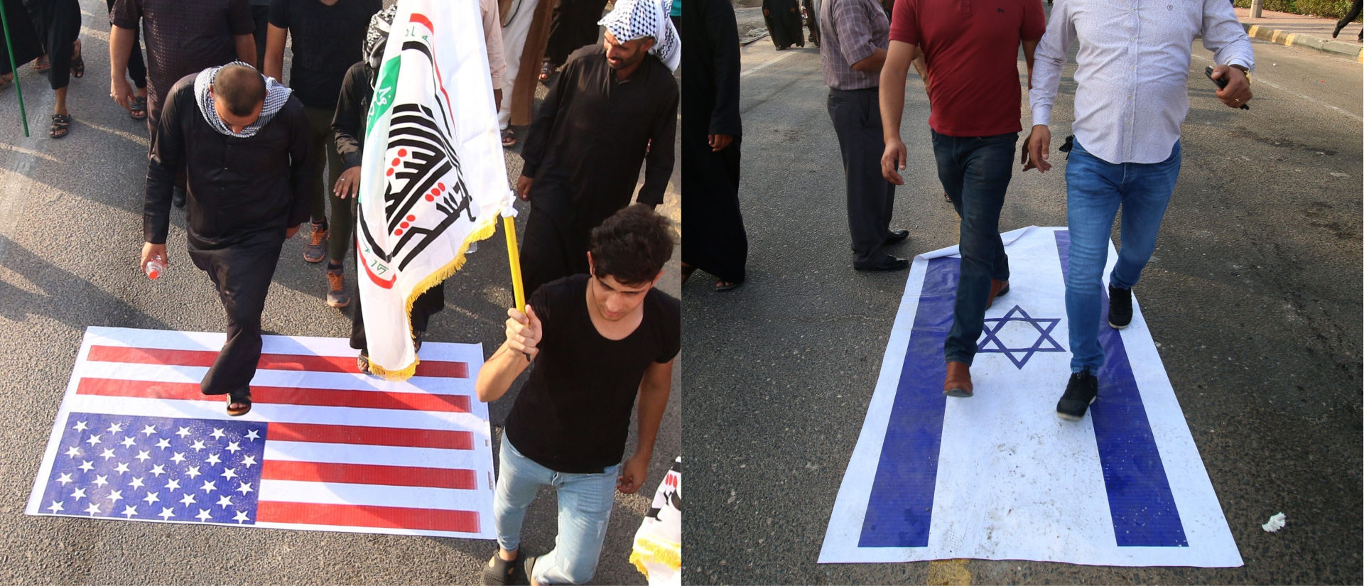 Demonstrators waving Iranian and pro-Iranian party flags step on a US [and Israeli] flags during a protest on September 15, 2018, against the torching of the Iranian Consulate and the Hashed al-Shaabi party (Popular Mobilisation) headquarters during recent protests in the southern Iraqi city of Basra. - Basra had been rocked by protests with demonstrators setting ablaze government buildings, the Iranian consulate and the offices of pro-Tehran militias and political parties. (Photo by Haidar MOHAMMED ALI / AFP) (Photo credit should read HAIDAR MOHAMMED ALI/AFP/Getty Images)