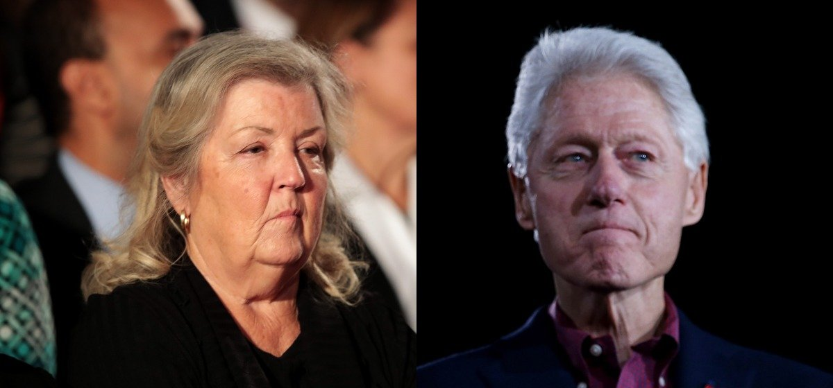 """LAS VEGAS, NV - FEBRUARY 19: (L-R) Democratic presidential candidate former Secretary of State Hillary Clinton and her husband, former U.S. president Bill Clinton look on during a """"Get Out The Caucus"""" at the Clark County Government Center on February 19, 2016 in Las Vegas, Nevada. With one day to go before the Democratic caucuses in Nevada, Hillary Clinton is campaigning in Las Vegas. (Photo by Justin Sullivan/Getty Images)ST LOUIS, MO - OCTOBER 09: Juanita Broaddrick sits before the town hall debate at Washington University on October 9, 2016 in St Louis, Missouri. This is the second of three presidential debates scheduled prior to the November 8th election. (Photo by Scott Olson/Getty Images)"""