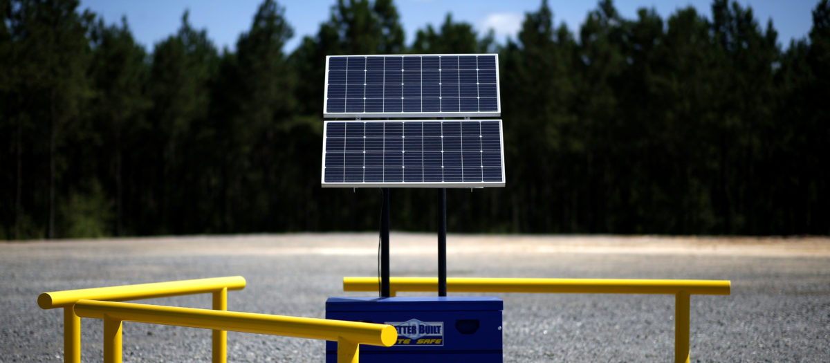 Solar panels are pictured at the BP America Gasosaurus Gas Unit well site in Lufkin, Texas, U.S., June 13, 2018. REUTERS/Jonathan Bachman