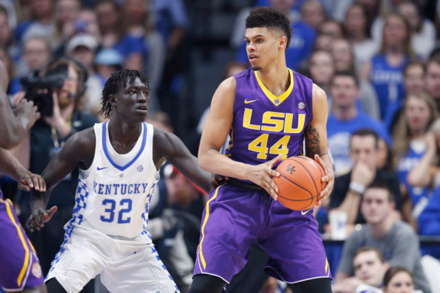 LEXINGTON, KY - FEBRUARY 07: Wayde Sims #44 of the LSU Tigers looks to the basket against Wenyen Gabriel #32 of the Kentucky Wildcats in the first half of the game at Rupp Arena on February 7, 2017 in Lexington, Kentucky. Kentucky defeated LSU 92-85. (Photo by Joe Robbins/Getty Images)