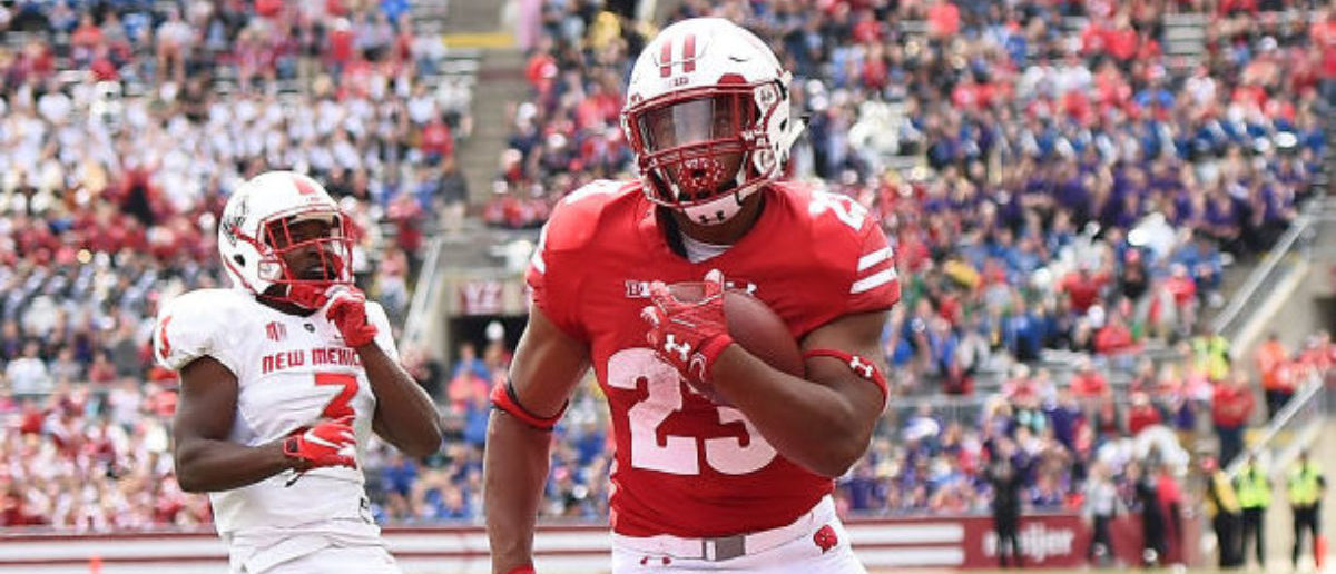 MADISON, WI - SEPTEMBER 08: Jonathan Taylor #23 of the Wisconsin Badgers rushes for a touchdown during the first half against the New Mexico Lobos at Camp Randall Stadium on September 8, 2018 in Madison, Wisconsin. (Photo by Stacy Revere/Getty Images)