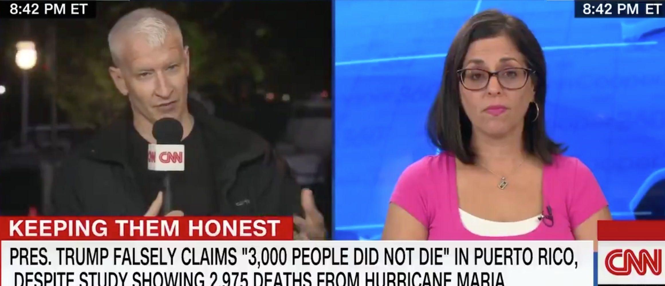 Anderson Cooper speaks to daughter of Maria victim/Screenshot