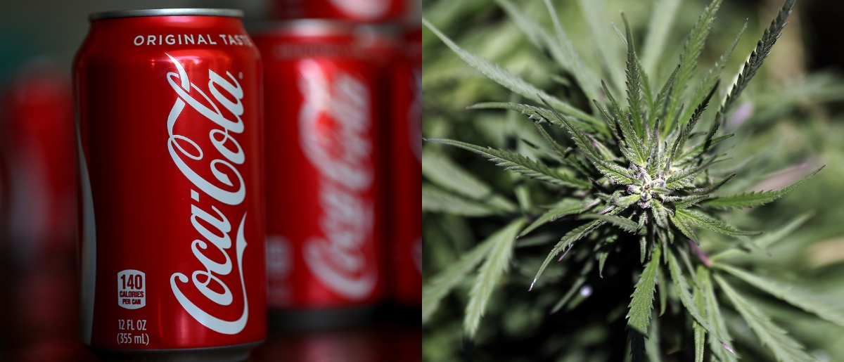 Coca-Cola may strike a deal with a cannabis company. Photos via Getty Images