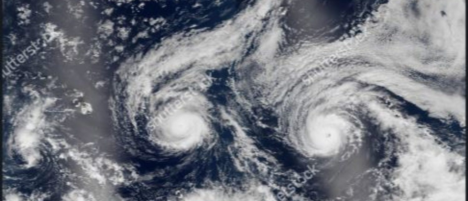 Hurricanes Florence tornado view from space. Florence USA from above, the sky. Elements of this image are furnished by Nasa. (Simeonn/Shutterstock)