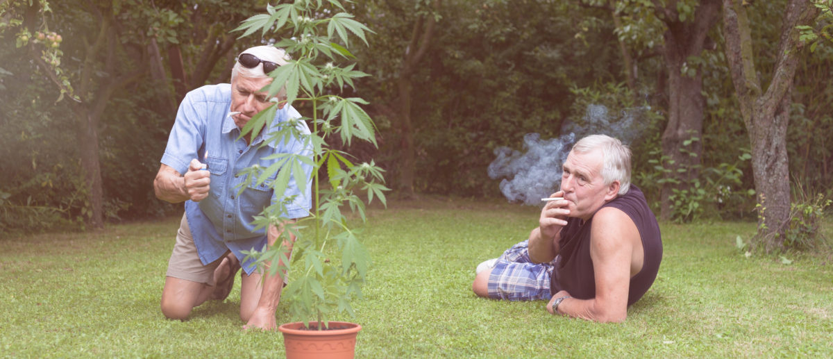 Two men smoke marijuana. Shutterstock image via user Jan Mika