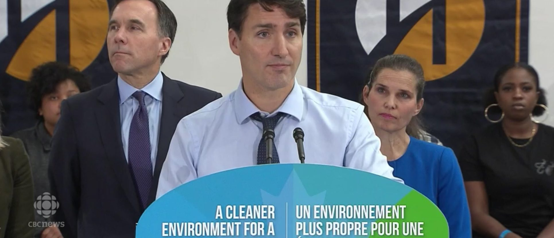 Canadian Prime Minister Justin Trudeau announces carbon tax rebates in Toronto, Ont., Oct. 23, 2018. CBC News screenshot.