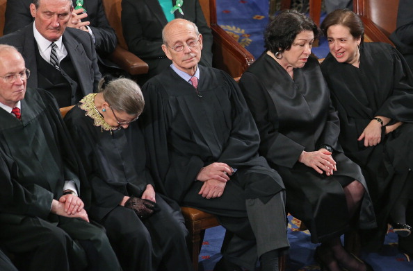 WASHINGTON, DC - FEBRUARY 12: Supreme Court associate justices (L-R) Anthony Kennendy, Ruth Bader Ginsburg, John Paul Stevens, Sonia Sotomayor and Elena Kagan attend U.S. President Barack Obama's State of the Union speech before a joint session of Congress at the U.S. Capitol February 12, 2013 in Washington, DC. Facing a divided Congress, Obama focused his speech on new initiatives designed to stimulate the U.S. economy and said, 'It?s not a bigger government we need, but a smarter government that sets priorities and invests in broad-based growth'. (Photo by Chip Somodevilla/Getty Images)