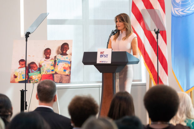 "Melania Trump delivering ""Best Best"" speech before departing on her trip to Africa, White House Flickr"