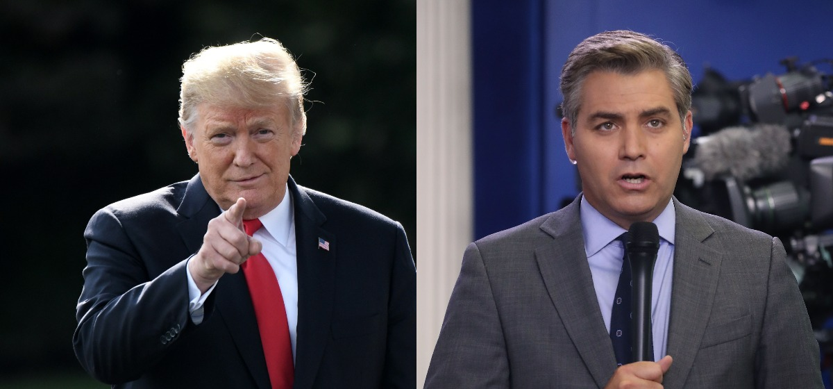 RIGHT: WASHINGTON, DC, AUGUST 02 - CNN reporter Jim Acosta reports from the briefing room at the White House, on August 2, 2018 in Washington, DC. The administration's top security officials briefed the media on election interference. (Photo by Mark Wilson/Getty Images) LEFT: President Donald Trump talks to the press as leaves the White House by the South lawn and boards Marine One en route to Council Bluffs, Iowa, for a 'Make America Great Again' rally on October 9, 2018 in Washington DC. (Photo: OLIVIER DOULIERY/AFP/Getty Images)