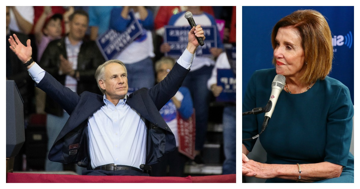LEFT: Governor Greg Abbott of Texas addresses the crowd before President Donald Trump took the stage for a rally in support of Sen. Ted Cruz (R-TX) on October 22, 2018 at the Toyota Center in Houston, Texas. Cruz, the incumbent, is seeking Senate re-election in a high-profile race against Democratic challenger Beto O'Rourke. (Photo by Loren Elliott/Getty Images) RIGHT: Rep. Nancy Pelosi talks to SiriusXM hosts Zerlina Maxwell and Jess McIntosh on October 15, 2018 in New York City. (Photo by Astrid Stawiarz/Getty Images for SiriusXM)