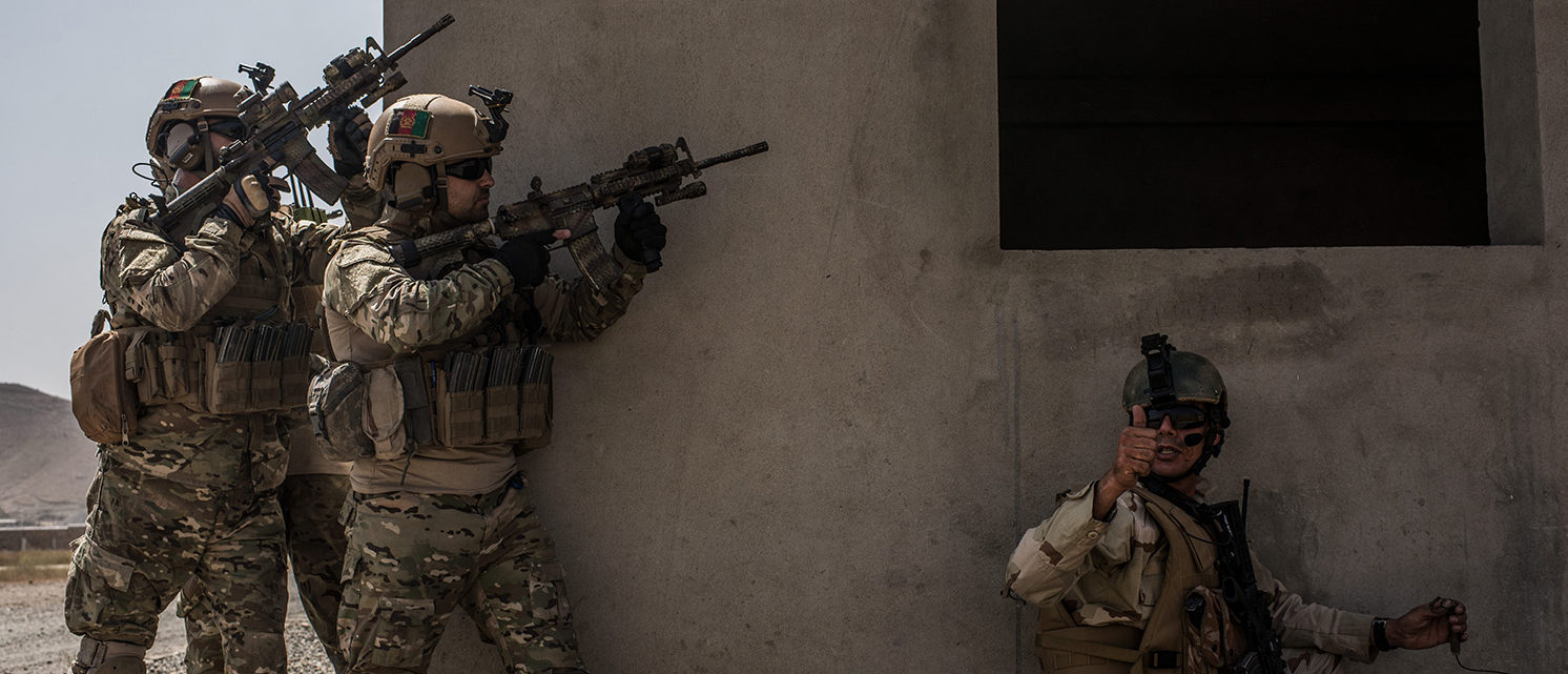 Members of Afghanistan's Crisis Response Unit 222, an Afghan Special Police Unit, participate in a training slowed down for the media on September 7, 2017 at Camp Lion in Kabul, Afghanistan. Currently the United States has about 11,000 troops in the deployed in Afghanistan, with a reported 4,000 more expected to arrive in the coming weeks. With the arrival of more troops, Resolute Support, the coalition train, advise, and assist mission, hopes to train almost double the amount of Afghan Special Forces and Special Police Units. (Photo by Andrew Renneisen/Getty Images)