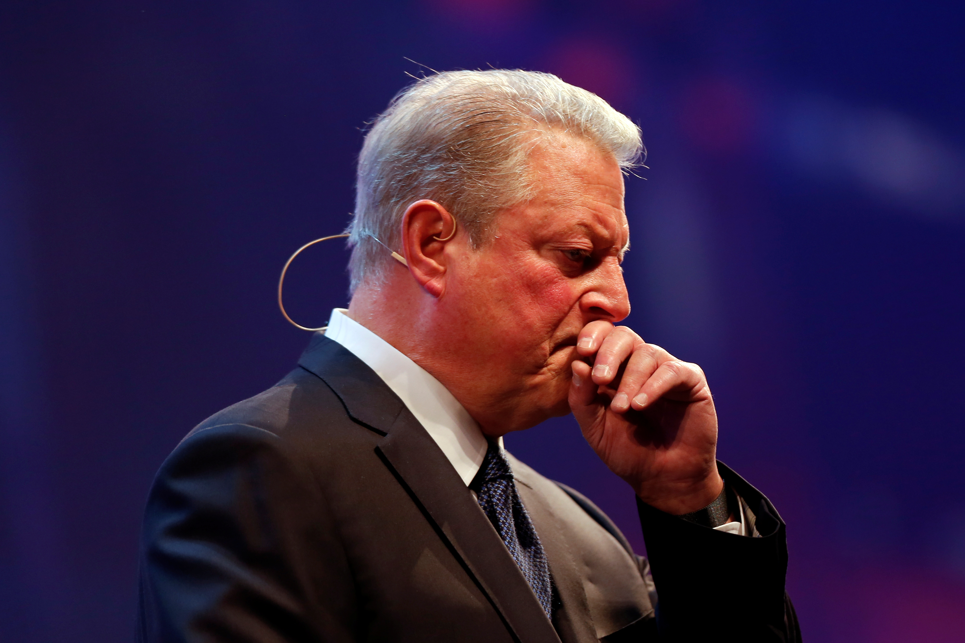 Al Gore chairman of Generation Investment Management gestures during the Web Summit, Europe's biggest tech conference, in Lisbon